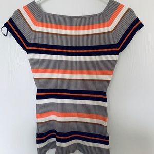 H&M Ribbed Knit Multicolored Top